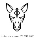 Black and white line art of fox head. Good use for symbol, mascot, icon, avatar, tattoo, T Shirt design, logo or any design you want. 76290567