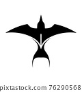 Black Silhouette Vector illustration on a white background of a Flying Swallow. Suitable for making logo. 76290568