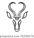 Line art vector of springbok head. Suitable for use as decoration or logo. 76290570