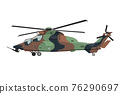 Nursery military helicopter drawing. Army vehicle in cartoon style. Isolated camouflage machine art for bedroom decor. Side view. Print for toddler wall art 76290697