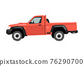 Farm pickup drawing. Off-road car in cartoon style. Isolated vehicle art for kids bedroom decor. Side view of red SUV. Truck for nursery decor 76290700