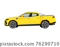 Pickup drawing. Off-road car in cartoon style. Isolated vehicle art for kids bedroom decor. Side view of yellow SUV. Truck for nursery decor 76290710