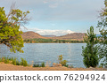 Beautiful view of Osoyoos lake from tourist camp on warm summer evening 76294924