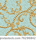 Rococo golden elements seamless pattern. Gold texture 76296842
