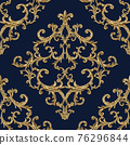 Baroque golden elements seamless pattern. Gold texture 76296844