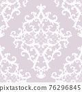 Seamless baroque style damask ornamental pattern. Hand drawn white texture on pastel pink background 76296845