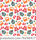 seamless pattern with monsters vector illustration 76296917