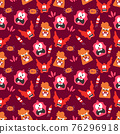 Seamless pattern with cute color monsters 76296918