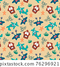 Seamless pattern with cute color monsters 76296921