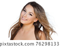 Natural beauty and skincare concept. Portrait of beautiful female model with clean face isolated on white background. Young woman shows healthy sensitive skin after using cosmetics and makeup 76298133