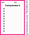 Tracing number 0 worksheet for kindergarten and preschool kids for educational handwriting practice in a printable page. 76298145