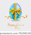 Happy easter day easter eggs blue color with glod ribbon. Vector illustrations. 76298328