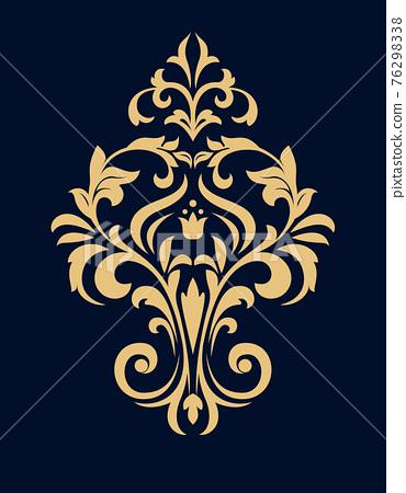 Damask graphic ornament. Floral design element. Dark blue and gold vector pattern 76298338