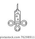 Line medical healthcare art icon - syringe. Professional equipment symbol. Science, pharmacy, medic, chemistry background emblem element. Laboratory test. Vector medical outline illustration. 76298911