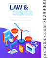 Law and order - modern isometric web banner 76299000