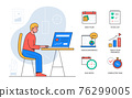 Task management - colorful flat design style poster 76299005