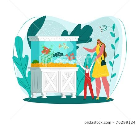 Aquarium fish set, home oceanarium, vector illustration. Mother, child watch floating sea animals. Happy boy admire seaweed, sea nature. 76299124