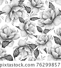 Seamless pattern with flowers and leaves. Black and white floral pattern 76299857