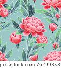 Peonies seamless floral pattern. Oriental style vintage flowers. 76299858