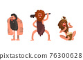 Primitive Caveman Characters Set, Funny Stone Age Archaic Men Dressed in Animal Skin Cartoon Vector Illustration 76300628