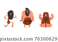 Primitive Caveman Characters Set, Funny Stone Age Archaic Men Cartoon Vector Illustration 76300629