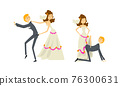 Funny Couple of Newlyweds Set, Weak Henpecked Groom Dominated by Bride Cartoon Vector Illustration 76300631
