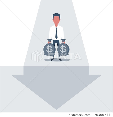 Business challenge and solution vector concept with businessman standing over big gap. 76300711