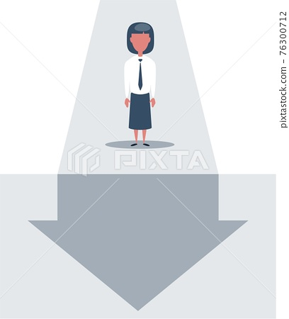 Businesswoman stands and looks at the line graph going down. Business and finance concept. 76300712