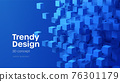 Abstract geometric background with blue 3d flying cubes. Modern abstract business template with 3d blue cube on blue background. Vector illustration 76301179