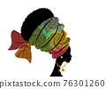 portrait beautiful African woman in traditional turban handmade tribal motif, Kente head wrap African with ethnic earrings, black women Afro curly hair, vector silhouette isolated on white background 76301260