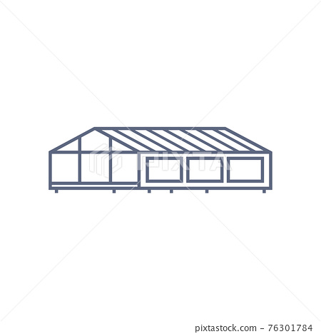 Greenhouse line icon - village house or wooden cabin in linear style on white background. Vector illustration 76301784