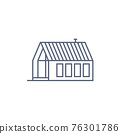 Farm house line icon - village house or wooden cabin in linear style on white background. Vector illustration. 76301786
