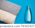 Towels on the table in the spa salon 76302427