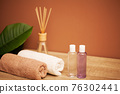 Towels on the table in the spa salon 76302441