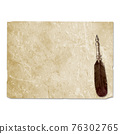 Vintage style fountain feathers pen with sheets of old aged yellow brown faded paper 76302765
