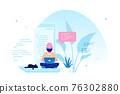 Programmer specialist sitting on the big laptop and working 76302880