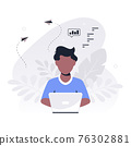 Young black man working on laptop, flat design vector 76302881