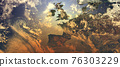 View of Europe with orange glowing and dense atmosphere to illustrate global warming - 3d illustration 76303229