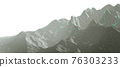 Overview of a winding hiking trail through the mountains with waypoints - 3d illustration 76303233