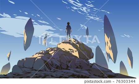 Rocks floating in the sky 76303344