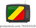 Congolese Television concept. TV set with flag of Congo. 3D rendering 76303520