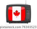 Canadian Television concept. TV set with flag of Canada. 3D rendering 76303523