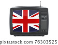 British Television concept. TV set with flag of Great Britain. 3D rendering 76303525