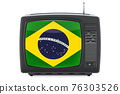 Brazilian Television concept. TV set with flag of Brazil. 3D rendering 76303526