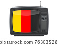 Belgian Television concept. TV set with flag of Belgium. 3D rendering 76303528