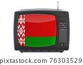 Belarusian Television concept. TV set with flag of Belarus. 3D rendering 76303529