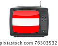 Austrian Television concept. TV set with flag of Austria. 3D rendering 76303532