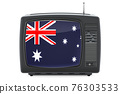 Australia Television concept. TV set with flag of Australia. 3D rendering 76303533