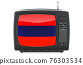 Armenian Television concept. TV set with flag of Armenia. 3D rendering 76303534