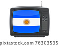 Argentinean Television concept. TV set with flag of Argentina. 3D rendering 76303535
